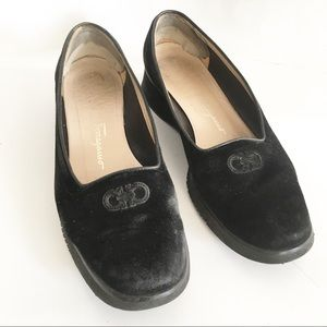 Vintage Salvatore Ferragamo Black Suede Loafers 8